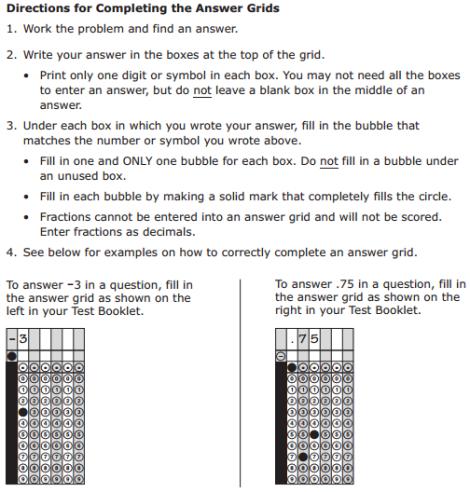 PARCC Practice Grid Instructions